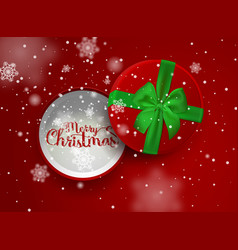christmas inscription in the open red gift box vector image