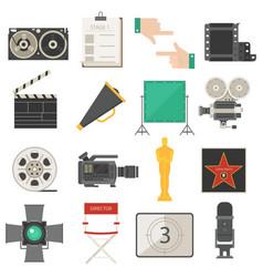 cinema movie making tools equipment symbols icons vector image