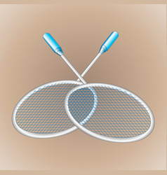 close-up two realistic rackets for badminton vector image