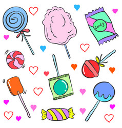 Collection stock of candy various doodles vector