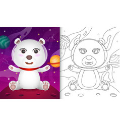 Coloring book for kids with a cute polar bear vector