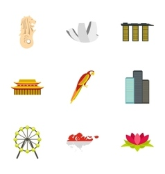 Country Singapore icons set flat style vector