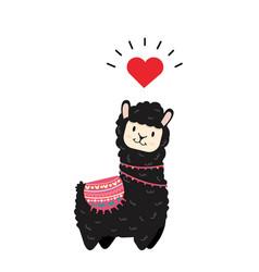Cute alpaca animal character vector