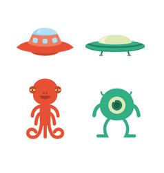 cute flat alien icon spaceship vector image