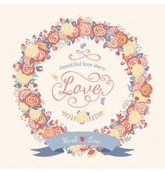 Cute floral frame with roses in vintage style vector