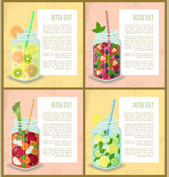 Detox diet set of poster with refreshing cocktails vector