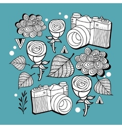 Doodle print with photo cameras and roses vector