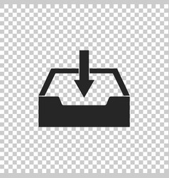 Download inbox icon on transparent background vector