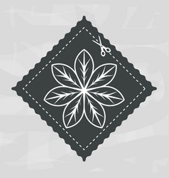 emblem shape square with flower inside decoration vector image