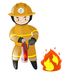 Fire fighter fighting with fire vector