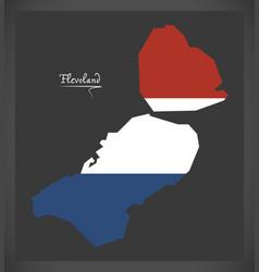 Flevoland netherlands map with dutch national flag vector