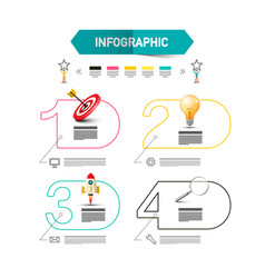 four steps infographic layout with rocket launch vector image
