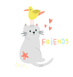 funny cat and seagull friends friendship concept vector image