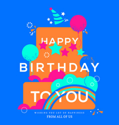 happy birthday cake birthday card design template vector image