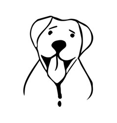 happy dog in lineart style vector image