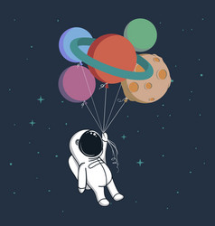 happy spaceman with planets vector image