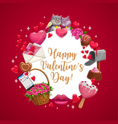 Happy valentine day love candy hearts cats kiss vector