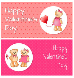 happy valentines day bears vector image