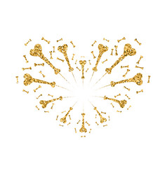 heart firework gold isolated vector image