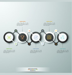 horizontal chart with 5 circular elements in black vector image