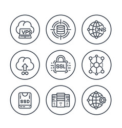 Hosting service and network solutions line icons vector