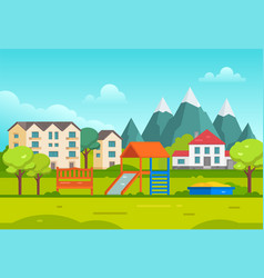 Housing estate with playground by the mountains - vector