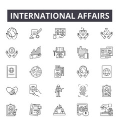 International affairs line icons signs vector