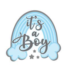 Its a boy - newborn greeting with blue rainbow vector