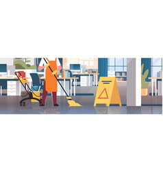 janitor mopping floor cleaner in uniform cleaning vector image