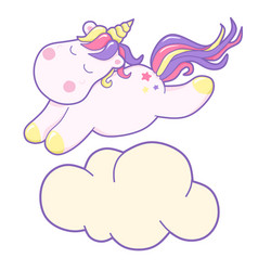 kawaii cute unicorn flies and dreams pastel color vector image