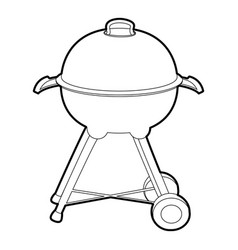 kettle barbecue icon outline vector image