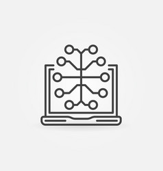 laptop with brain outline icon or logo vector image