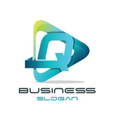 Letter q media logo vector