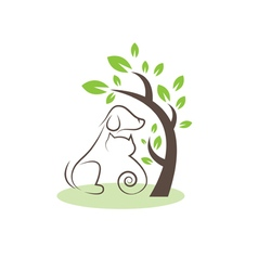 Line drawing cats and dogs under the tree vector