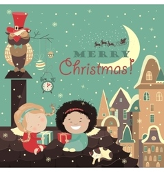 Little angels on rocelebrating christmas vector