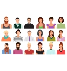 Man Male and Female woman character faces avatar vector