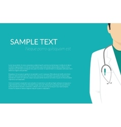 Medical background with flat doctor wearing vector
