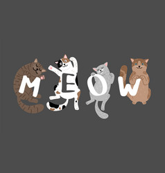 Meow slogan with sleeping cats vector