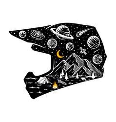 Motocross helmet and universe vector