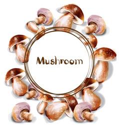 mushroom watercolor menu template round frames vector image