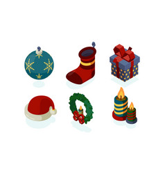 new year icons xmas accessories gifts tree vector image