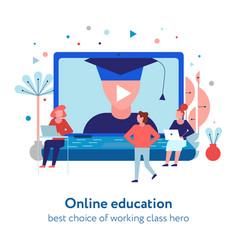 Online education flat composition vector