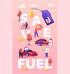 Petrol economy concept characters refueling car vector