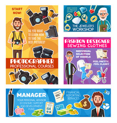 Photographer jeweler manager and tailor designer vector