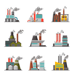 power plants collection industrial factory vector image
