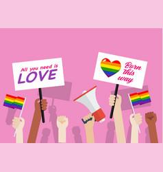 pride month crowd people in lgbtq parade vector image