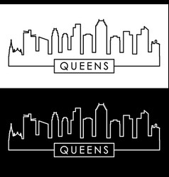 queens ny skyline linear style editable file vector image