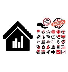 Realty Bar Chart Flat Icon with Bonus vector image
