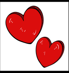 red heart free drawing-cartoon vector image