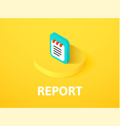 Report isometric icon isolated on color vector